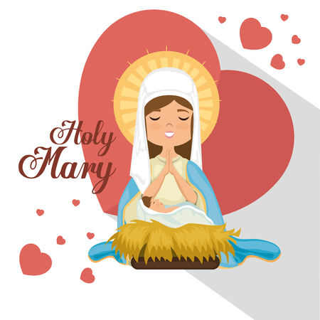 holy Miracle virgin religious card vector illustration design