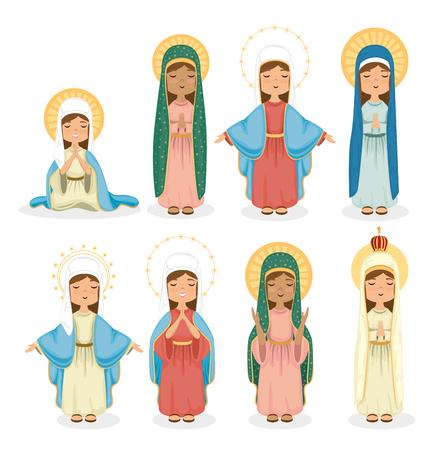 heilige maagden groep religieuze kaart vector illustratie ontwerp
