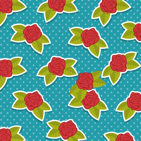 Background with pattern of roses vector illustration design