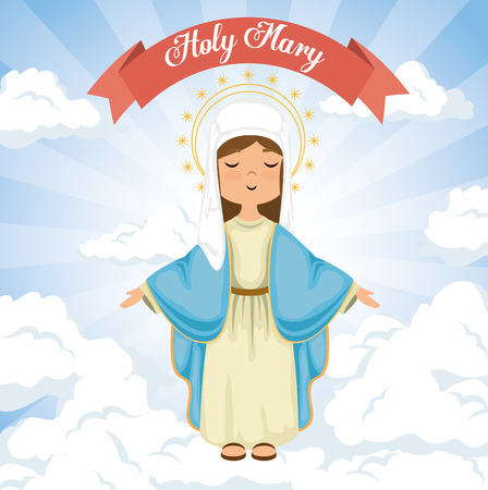 heilige Miracle maagd religieuze kaart vector illustratie ontwerp
