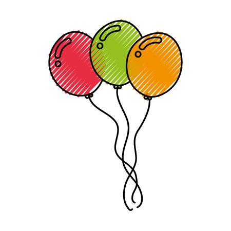 Decorative party balloons air vector illustration design