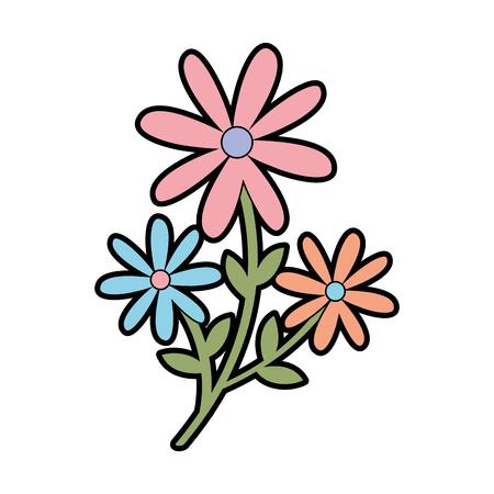 귀여운 정원 꽃 장식 아이콘 벡터 일러스트 디자인