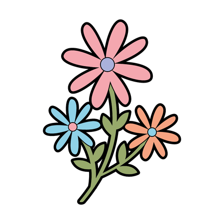 cute garden flower decorative icon vector illustration design