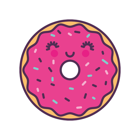 sweet and delicious donut kawaii character vector illustration design