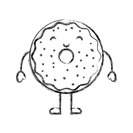 sweet and delicious donut character vector illustration design