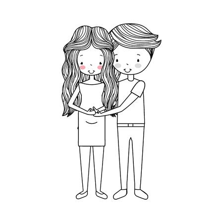 enamorados caricatura: couple lovers avatars characters vector illustration design