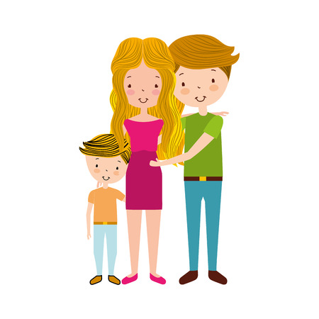 married couple with son vector illustration design
