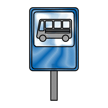 bus stop sign isolated icon vector illustration design Illustration