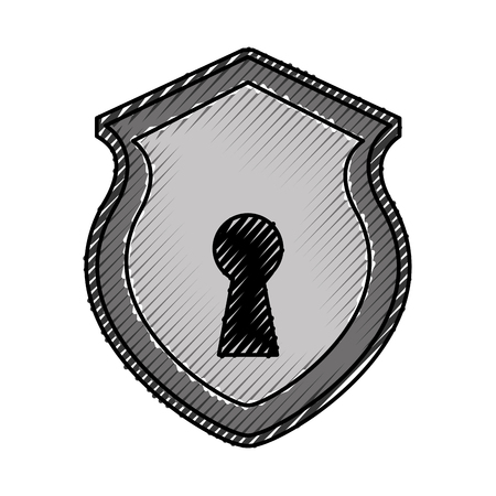 security shield with shape hole isolated icon vector illustration design