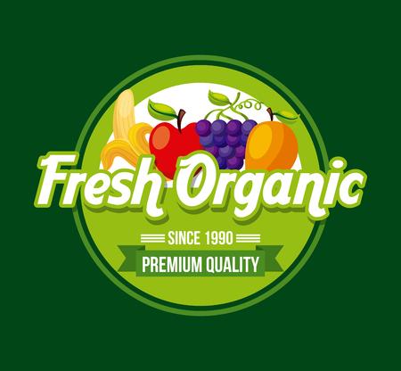 healthy organic vegetarian foods related emblem image vector illustration design Illustration