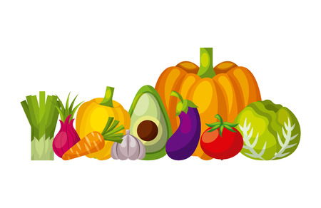 assorted fruits vegetables healthy organic vegetarian foods related icons image vector illustration design Illustration