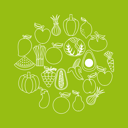 assorted fruits vegetables healthy organic vegetarian foods related icons image vector illustration design simple line