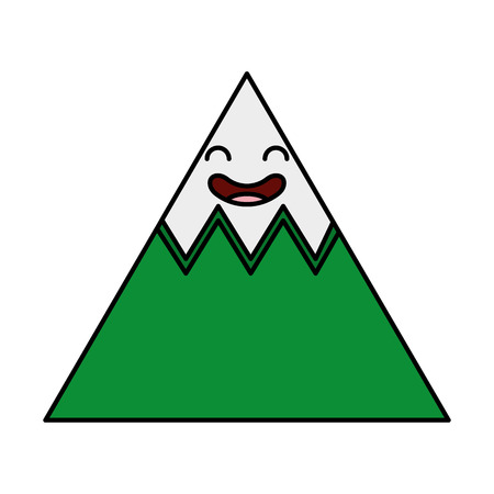 mountain big kawaii character vector illustration design