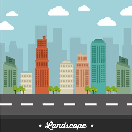 city landscape buildings icon vector illustration design