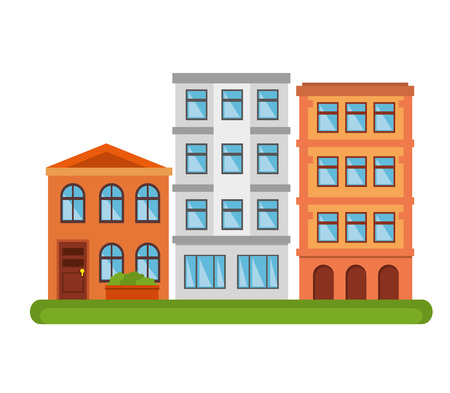 city landscape buildings icon vector illustration design