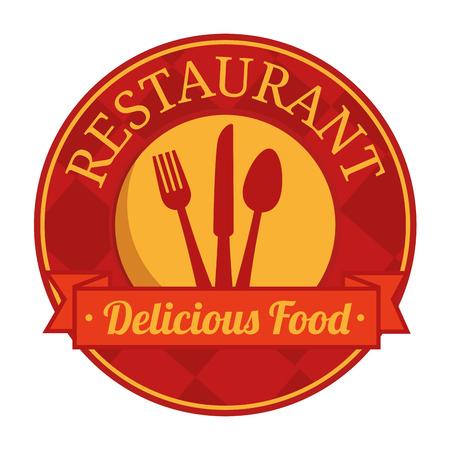 Signe de restaurant rouge et jaune avec la silhouette de l'argenterie sur fond blanc. Illustration vectorielle Banque d'images - 77623287