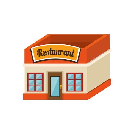 Isometric restaurant building over white background. Vector illustration. Çizim