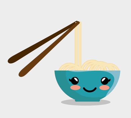 Kawaiikom met noedels en eetstokjes over witte achtergrond. Vector illustratie.
