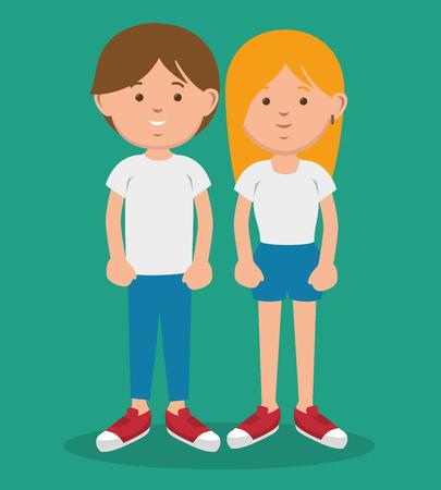 Brunette und blonde Teenager stehen zusammen über teal Hintergrund. Vektor-Illustration. Standard-Bild - 77624147
