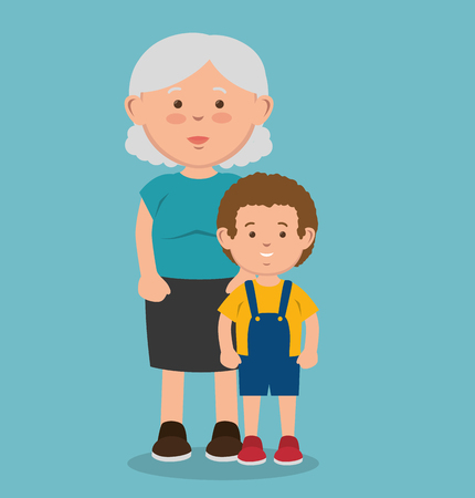 Old woman next to kid over blue background. Vector illustration. Illustration