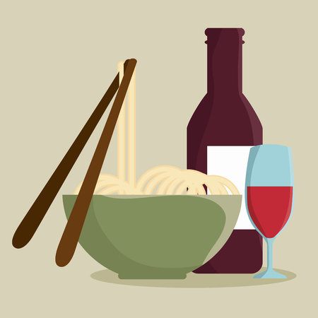 Noodles, bottle and glass of wine over beige background. Vector illustration.