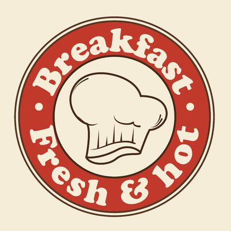 toque blanche: Red breakfast sign with toque blanche over beige background. Vector illustration.