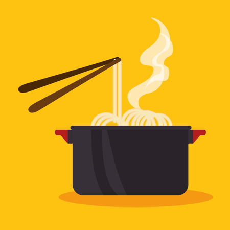 Pot with noodles and steam over yellow background. Vector illustration.