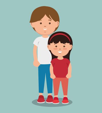 Adolescent garçon debout à côté de la fille sur fond bleu. Illustration vectorielle. Vecteurs