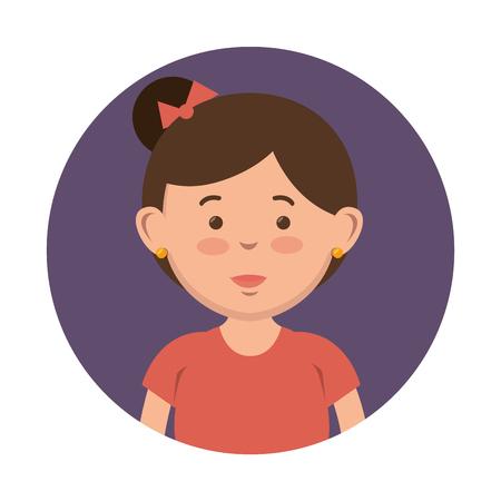 Brunette girl with hairbun icon over purple and white background. Vector illustration. Ilustração