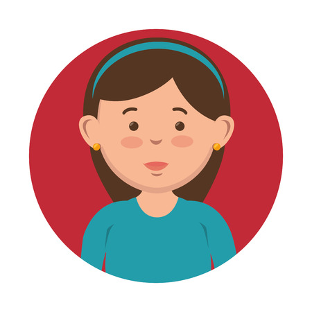 Brunette girl with headband icon over red and white background. Vector illustration.