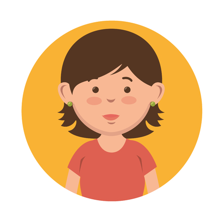 Short-haired girl icon over yellow and white background. Vector illustration.