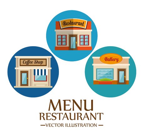 Food-related places icons over white background. Vector illustration.