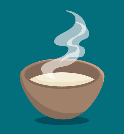 Hot soup over blue background. Vector illustration. Illustration