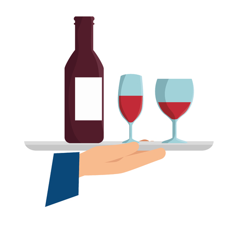 Hand holding a silver tray with a bottle and glasses of wine. Vector illustration. Illustration
