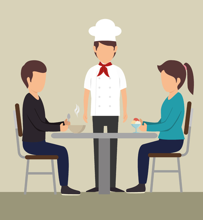 Couple eating at a table next to chef over beige background. Vector illustration.
