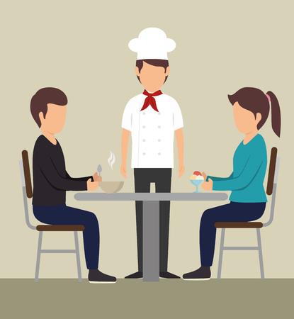 Paar eten aan een tafel naast chef-kok over beige achtergrond. Vector illustratie. Stock Illustratie