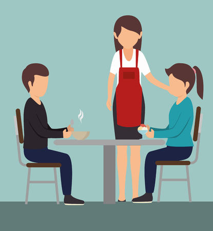Couple eating at a table next to waitress over blue background. Vector illustration.