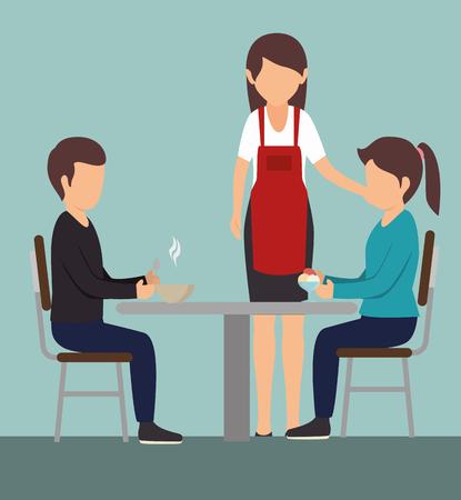Paar dat bij een lijst naast serveerster over blauwe achtergrond eet. Vector illustratie.