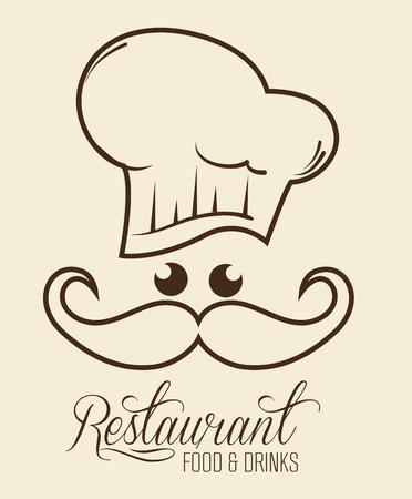 Het teken van het Kawaiirestaurant met chef-kok over beige achtergrond. Vector illustratie. Stock Illustratie