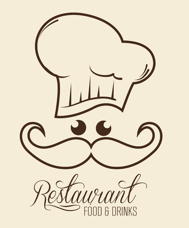 Kawaii restaurant sign with chef over beige background. Vector illustration.