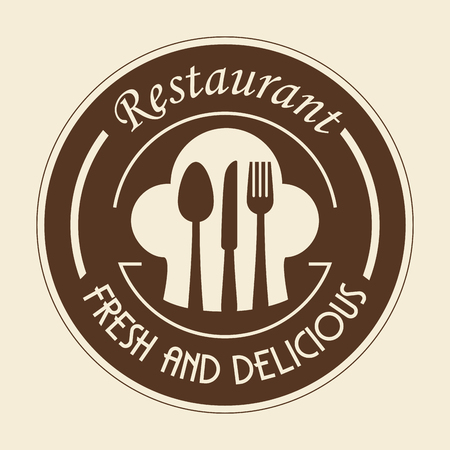 Brown restaurant sign with silverware and toque blanche over beige background. Vector illustration. Stok Fotoğraf - 77624174