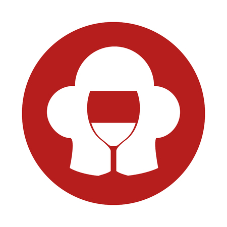 Red icon with toque blanche and wine glass over white background.  Vector illustration.