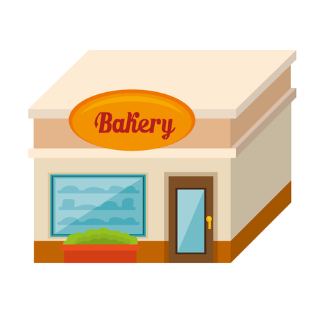 Isometric bakery building over white background. Vector illustration.