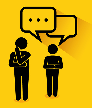 Men pictograms sharing ideas over yellow background. Vector illustration. Ilustração