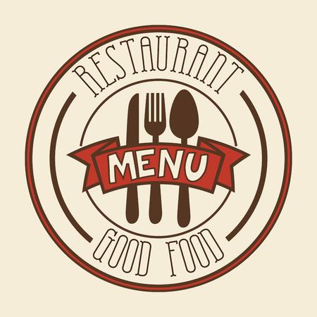 Red restaurant menu sign over beige background. Vector illustration.