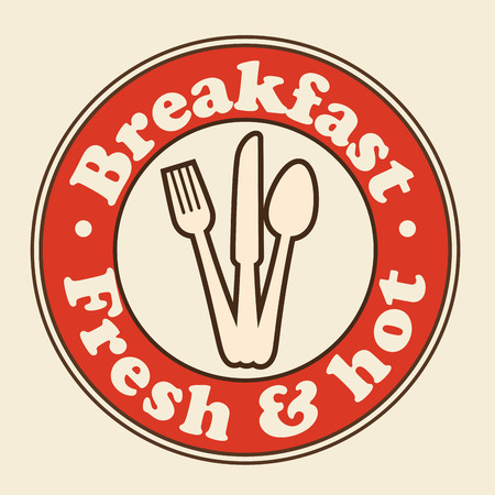 Red breakfast sign with silverware over beige background. Vector illustration.