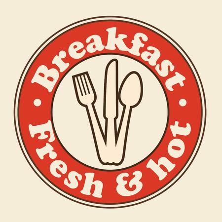Rood ontbijtteken met tafelzilver over beige achtergrond. Vector illustratie. Stockfoto