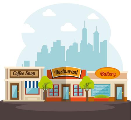 Bakkerij, restaurant en coffeeshop met overdag skyline van de stad achter. Vector illustratie.
