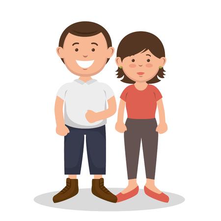 Brunette couple standing together over white background. Vector illustration.