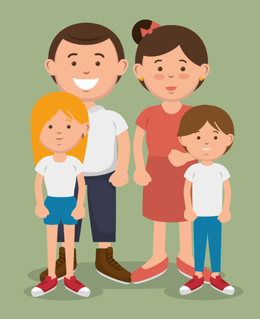 A couple and their kids posing together over green background. Vector illustration. Иллюстрация